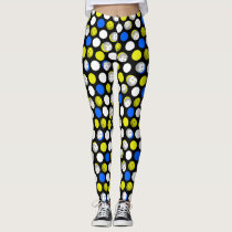 Pickleball Print - green white blue polka dots Leggings