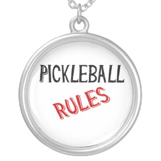 pickleball rules bernice black red silver plated necklace