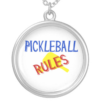 pickleball rules bernice red blue yellow paddle round pendant necklace