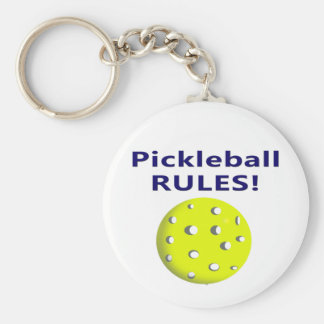 pickleball rules blue text version basic round button keychain