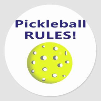 pickleball rules blue text version classic round sticker