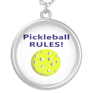 pickleball rules blue text version silver plated necklace