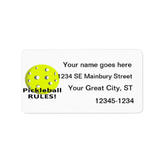 Pickleball Rules! With yellow ball black text Address Label