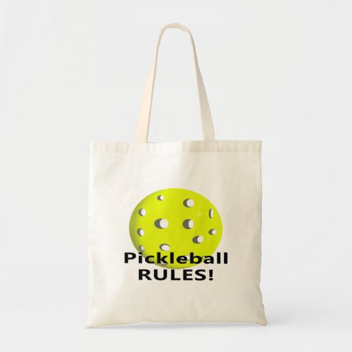 Pickleball Rules! With yellow ball black text Budget Tote Bag