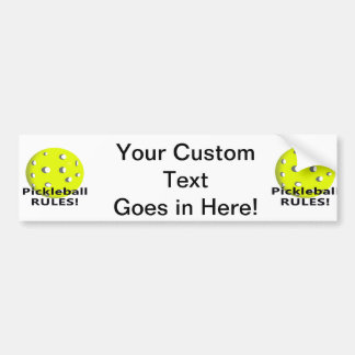 Pickleball Rules! With yellow ball black text Bumper Sticker