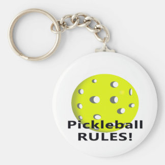 Pickleball Rules! With yellow ball black text Keychain
