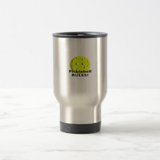 Pickleball Rules! With yellow ball black text Coffee Mugs