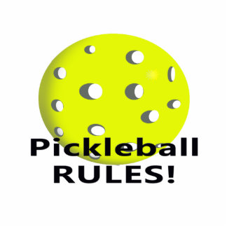 Pickleball Rules! With yellow ball black text Photo Sculptures