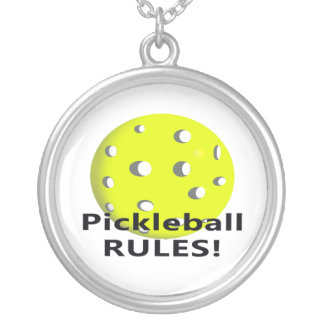 Pickleball Rules! With yellow ball black text Round Pendant Necklace