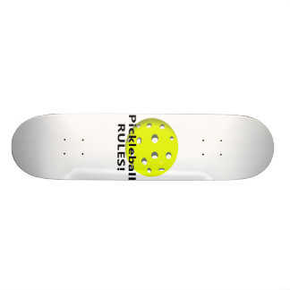 Pickleball Rules! With yellow ball black text Skateboard