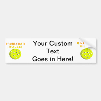 Pickleball Rules! With yellow ball yellow text Bumper Sticker