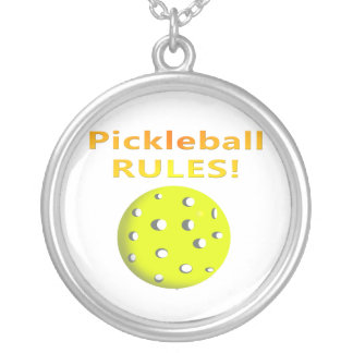 Pickleball Rules! With yellow ball yellow text Silver Plated Necklace