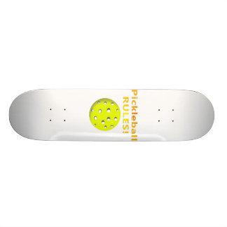 Pickleball Rules! With yellow ball yellow text Skateboard