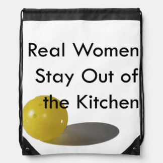 Pickleball, stay out of the kitchen drawstring bag