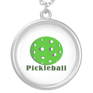 pickleball text n ball green.png silver plated necklace