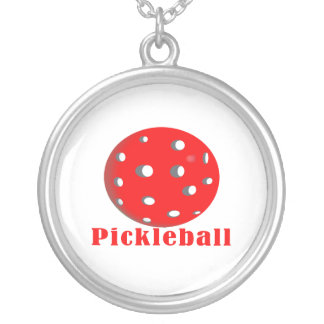 pickleball text n ball red.png round pendant necklace