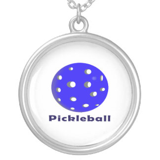 pickleball text n blue ball.png round pendant necklace