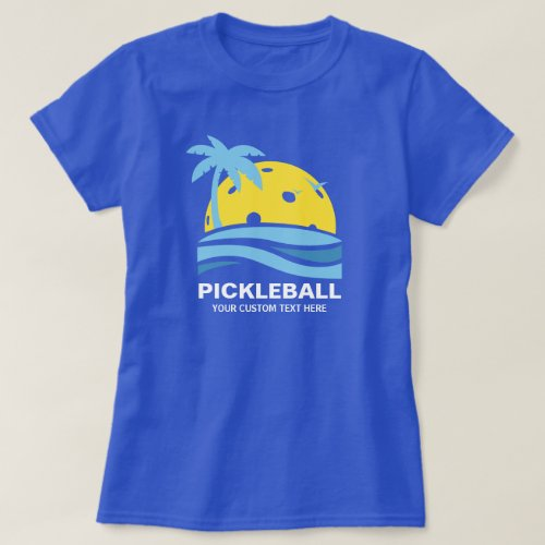 Pickleball Tropical Palm Tree Sun Your Custom Text T_Shirt