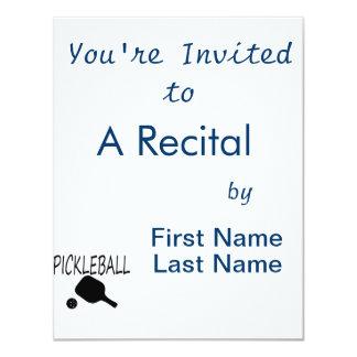 pickleball w paddle and ball black 4.25x5.5 paper invitation card