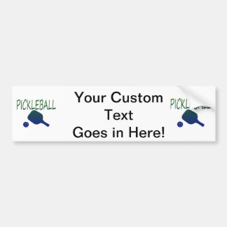 pickleball w paddle and ball blue to green bumper sticker