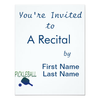 pickleball w paddle and ball blue to green 4.25x5.5 paper invitation card