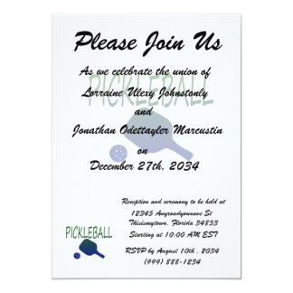 pickleball w paddle and ball blue to green 5x7 paper invitation card