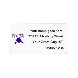 pickleball w paddle and ball dark blue address label