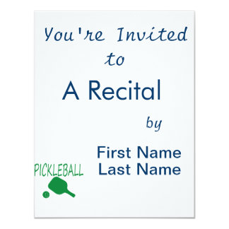 pickleball w paddle and ball light green 4.25x5.5 paper invitation card