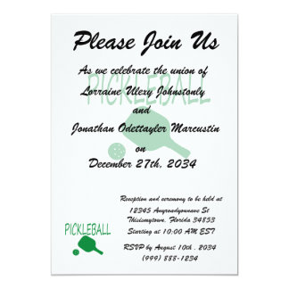 pickleball w paddle and ball light green 5x7 paper invitation card