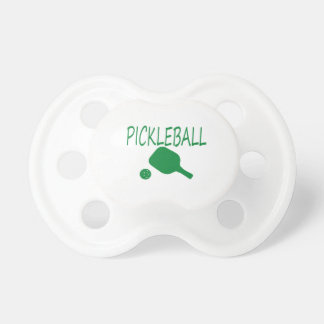 pickleball w paddle and ball light green pacifier