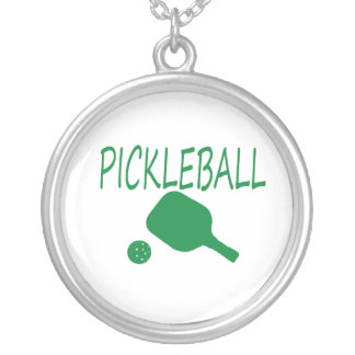 pickleball w paddle and ball light green silver plated necklace