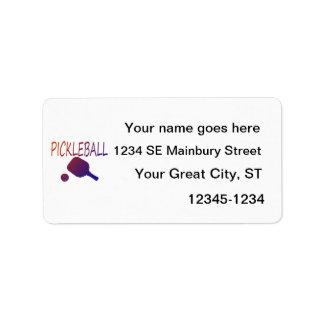 pickleball w paddle and ball orange to purple address label