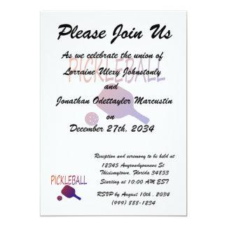 pickleball w paddle and ball orange to purple 5x7 paper invitation card