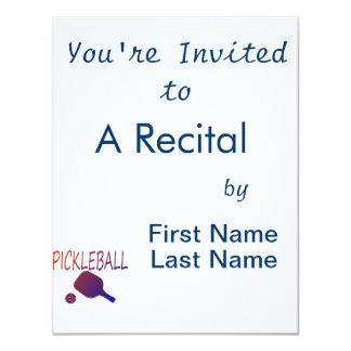 pickleball w paddle and ball orange to purple 4.25x5.5 paper invitation card