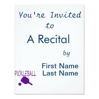 pickleball w paddle and ball purple 4.25x5.5 paper invitation card