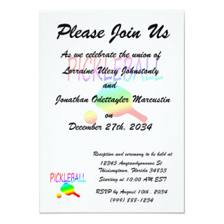 pickleball w paddle and ball rainbow. 5x7 paper invitation card