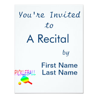 pickleball w paddle and ball rainbow. 4.25x5.5 paper invitation card