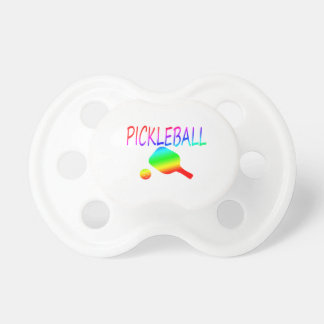 pickleball w paddle and ball rainbow. BooginHead pacifier