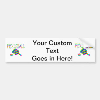 pickleball w paddle and ball rainbow stripes bumper sticker