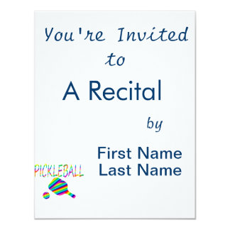 pickleball w paddle and ball rainbow stripes 4.25x5.5 paper invitation card