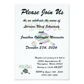 pickleball w paddle and ball rainbow stripes 5x7 paper invitation card