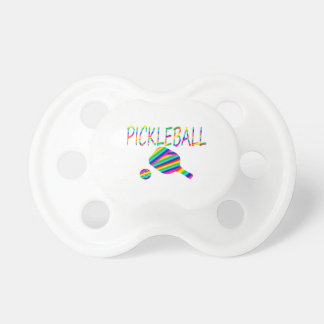 pickleball w paddle and ball rainbow stripes BooginHead pacifier