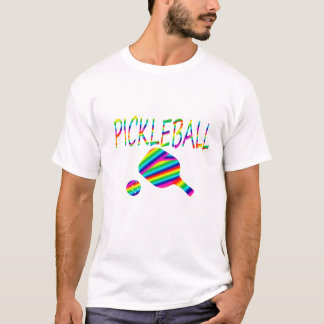 pickleball w paddle and ball rainbow stripes T-Shirt