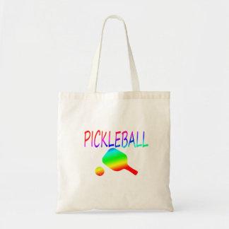 pickleball w paddle and ball rainbow. tote bag