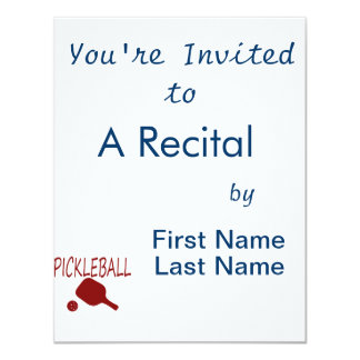 pickleball w paddle and ball red 4.25x5.5 paper invitation card
