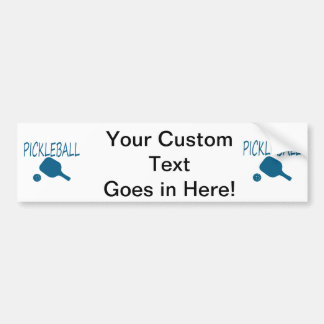 pickleball w paddle and ball teal bumper sticker