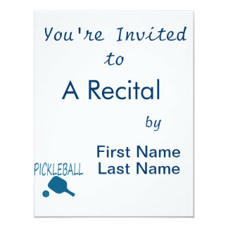 pickleball w paddle and ball teal 4.25x5.5 paper invitation card