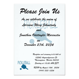 pickleball w paddle and ball teal 5x7 paper invitation card
