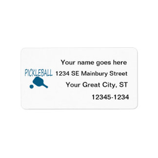pickleball w paddle and ball teal address label