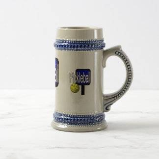 Pickleball, with ball and paddle design picture beer stein
